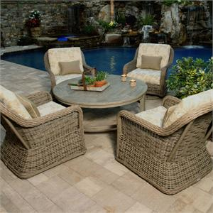 Ebel Wicker Bellevue Club Swivel Glider Patio Set