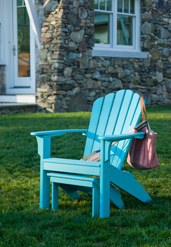 Coastline Adirondack Chair In Teal With Matching Footstool.