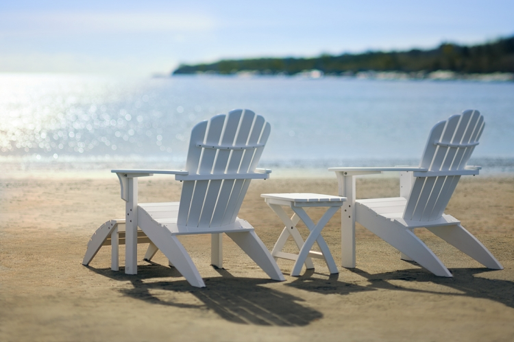 Coastline Adirondack Chairs In White W/Folding Table And Footstool
