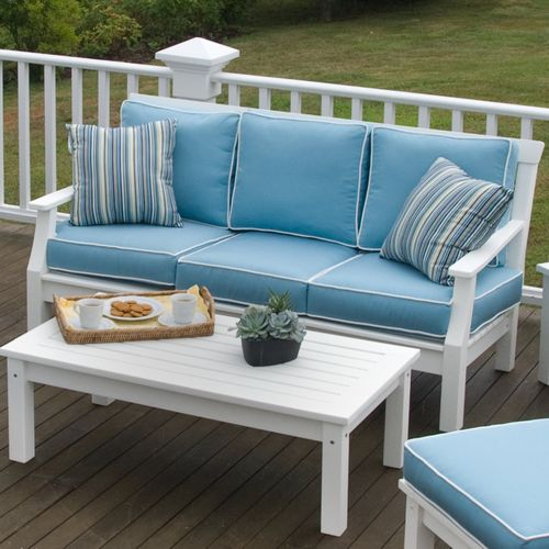 Nantucket Sofa (Mineral Blue W/White Piping) Luna Admiral Pillows.