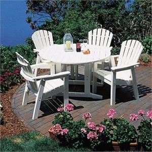 Seaside Casual 48 Inch Round Salem Table W/4 Shellback Dining Chairs ...