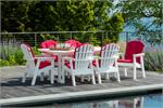 Table with 6 chairs on a pool deck in white