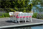 Table with 2  benches in white on pool deck