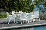 Table with 6 adirondack chairs on pool deck