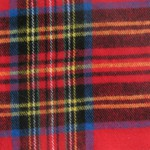 Plaid Fabric with mainly red, with blue, black white and yellow