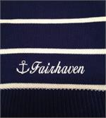 Cotton throw shown in nautical stripes called a Jibb.