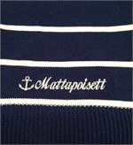 Cotton throw shown in nautical stripes called a Jibb shown embroidered with Mattapoisett.