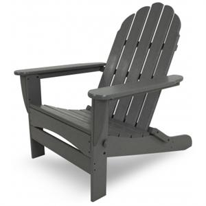 One Polywood Adirondack Chair in grye with a white background.