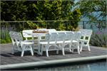white table with benches on a pool deck