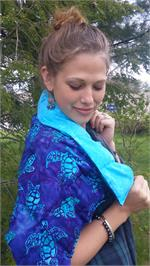 Heatable Shawl Shown over a Girl's Shoulders