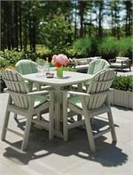 Four Adirondack Bar Chairs around a Table Outside